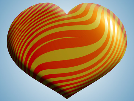 aniversaries: Stripes orange heart balloon