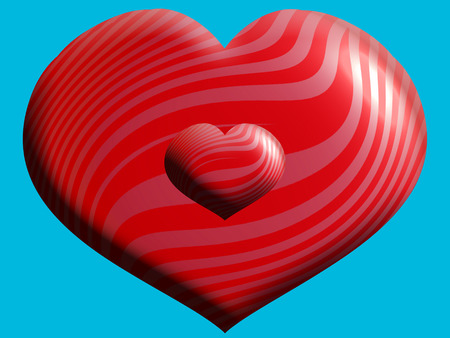 red balloons: Red 3D hearts balloons couple on blue