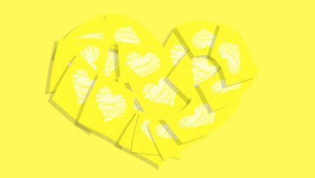 posted: Yellow sticky notes love messages heart with hearts