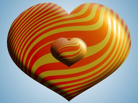 aniversaries: Orange striped hearts couple on light blue sky Stock Photo