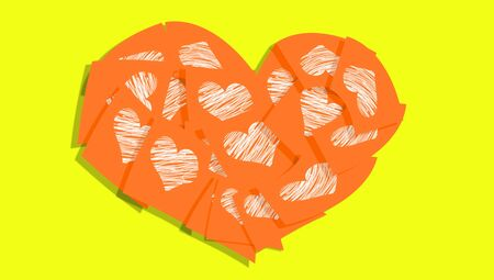 bigger: Orange notes with white hearts forming a bigger heart