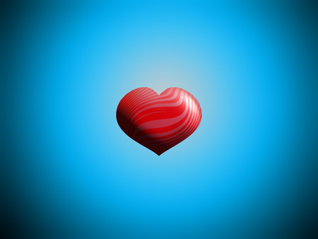 aniversaries: 3D heart balloon in blue sky