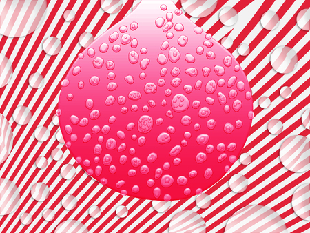 Red wet drop balloon on fantastic background