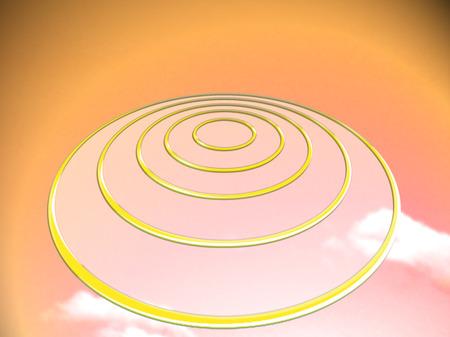 UFO or target circles on orange background Reklamní fotografie