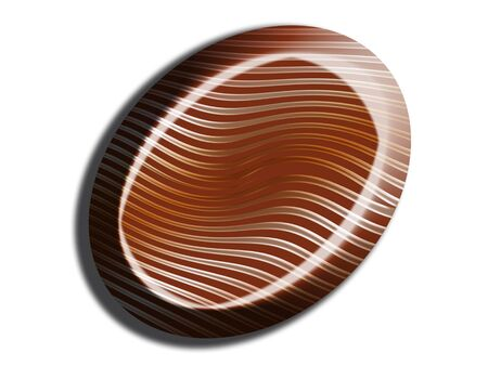 tempting: Striped oval chocolate isolated on white