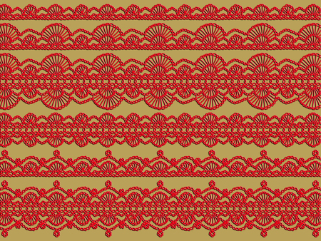 purls: Red vintage elegant crochet patterns background