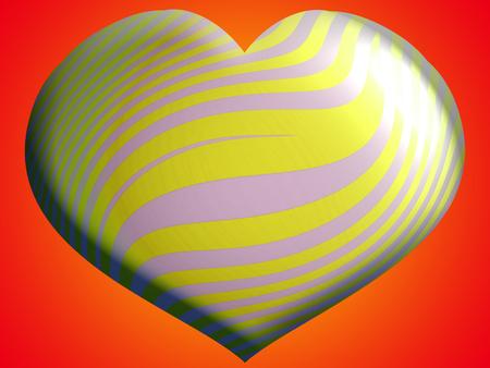 yellow heart: Yellow heart balloon on orange Stock Photo