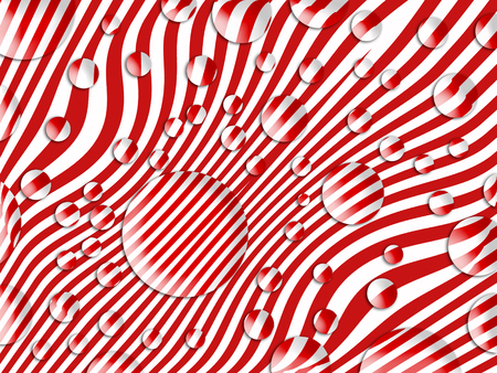 wet flies: Transparent bubbles on striped red and white abstract background Stock Photo