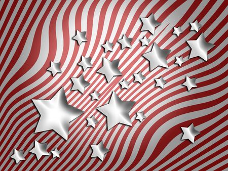 silver stars: Silver stars on red stripes abstract background