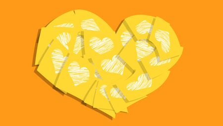 yellow heart: Yellow heart of love notes messages with hearts Stock Photo