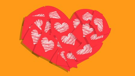 february 1: Red heart of love messages on orange colorful background