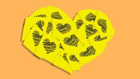 yellow heart: Yellow heart of office love romantic messages on orange Stock Photo
