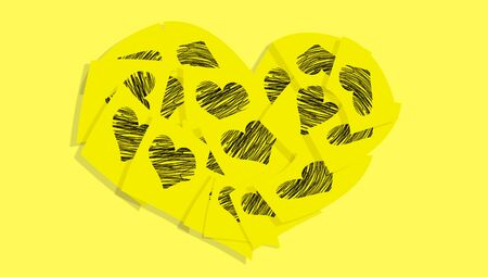 messages: Yellow sticky notes love messages heart background