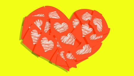 february 1: Orange sticky notes heart of love office messages for valentines day