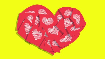 posted: Red love notes heart of papers on yellow