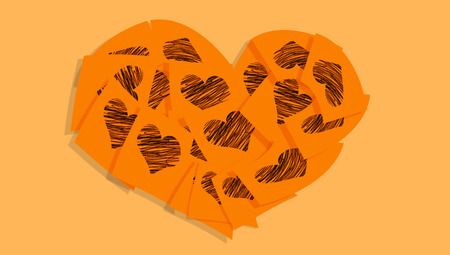 february 1: Orange love messages heart Stock Photo