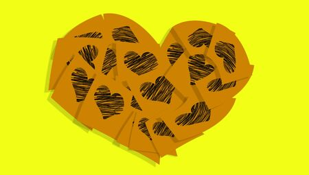 love notes: Love notes heart on yellow Stock Photo