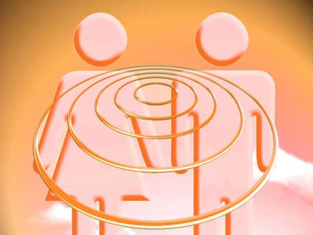 Couple vibes concept orange illustration Reklamní fotografie