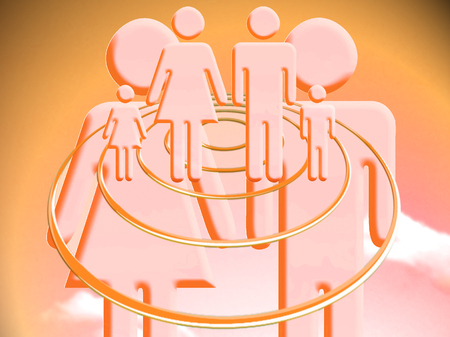 Couple project of family orange illustration