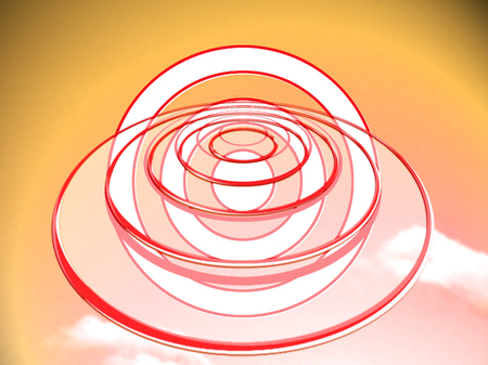 to foresee: Orange circles targets of two dimensions abstract background Stock Photo