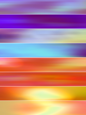 sequences: Orange and purple blurs abstract background banners set