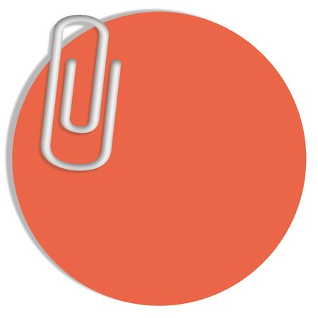 paperclip: Redish orange circular background with a paperclip