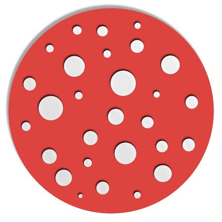 button mushroom: Red allucinogen mushroom illustration