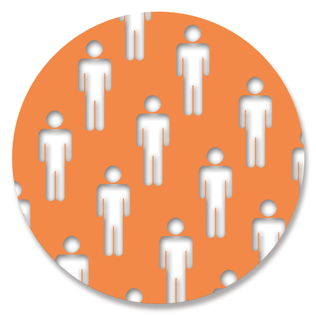 genders: Men shapes in orange circle
