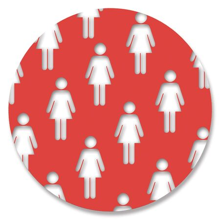 femenine: Women shapes in red circle Stock Photo