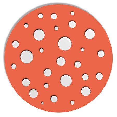 redish: Redish orange circle with white dots like allucinogen mushroom