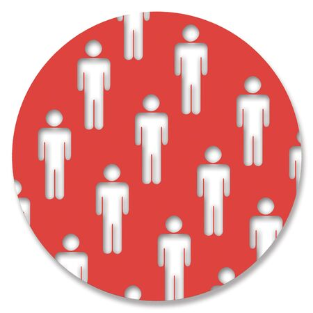 aligned: Red circle of men
