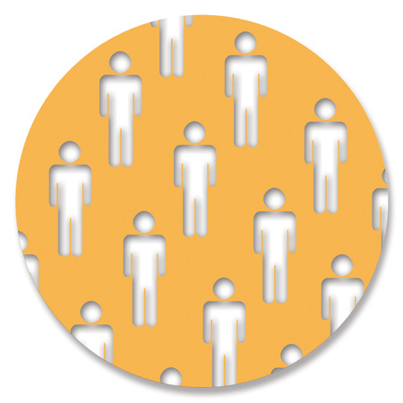 genders: Yellow circle with men Stock Photo