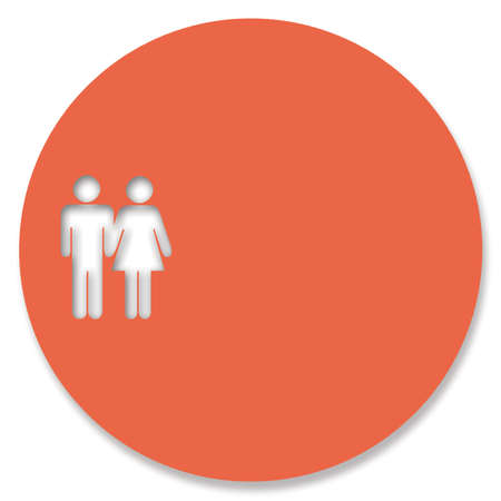 heterosexual: Orange button circle with heterosexual couple shape