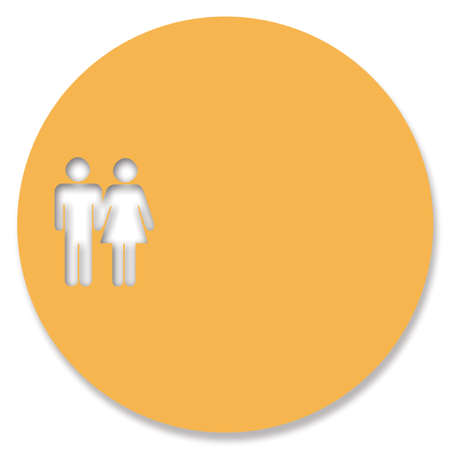 heterosexual couple: Circular orange background for text with heterosexual couple
