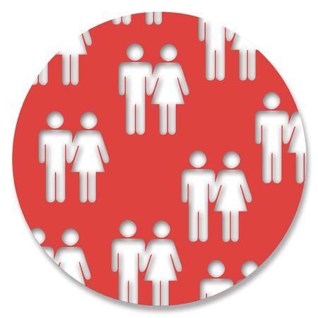 heterosexual: Red circle of heterosexual couples Stock Photo