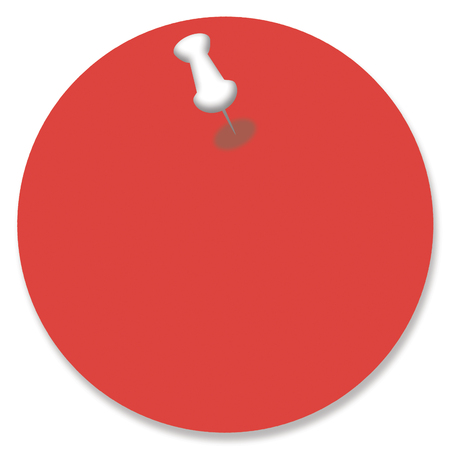 nailed: Red circle of paper for text pinned with a pin