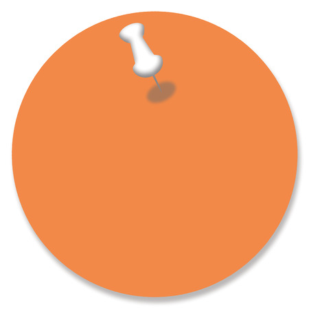 nailed: Orange circular paper background with a pin