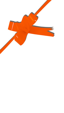 aniversary: White present background with orange ribbon Stock Photo