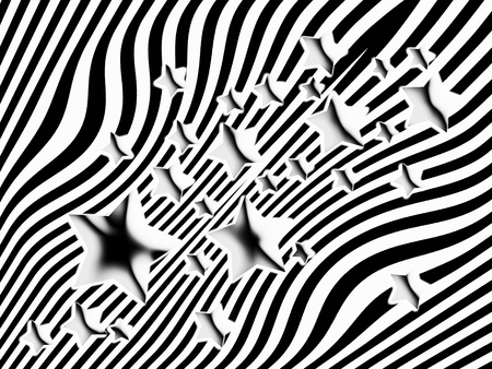 transmutation: Striped black and white background with stars