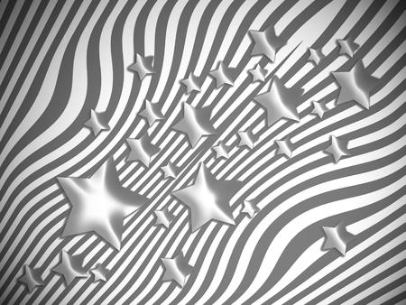 transmutation: Stars floating on striped backdrop