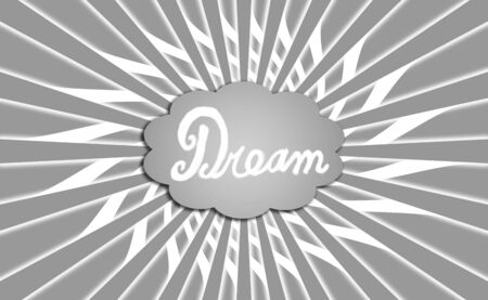 positivism: Dream cloud on grey with rays Stock Photo