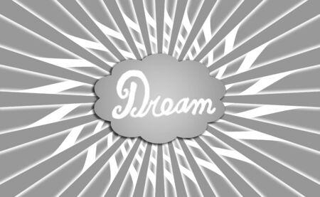 simetric: Dream cloud on grey with rays Stock Photo