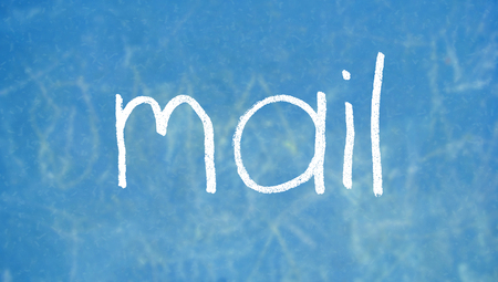 by mail: Mail chalk written word Stock Photo
