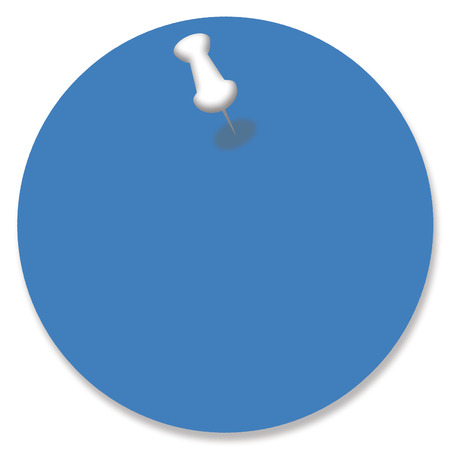 nailed: Blue empty circle of paper for your message with a pin