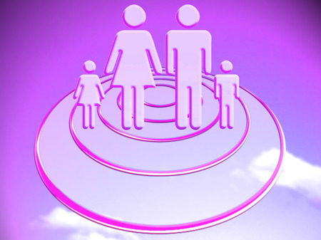 Purple illustration of a family