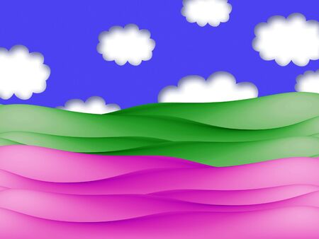 green fields: Pink and green fields illustration with blue sky and clouds