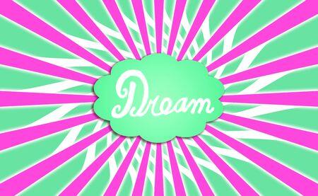 simetric: Green dream cloud with purple rays