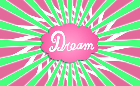 positivism: Pink and green radial background with dream cloud Stock Photo