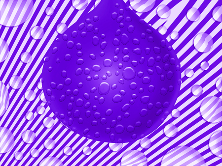 liquids: Purple balloon with drops bubbles and lines background