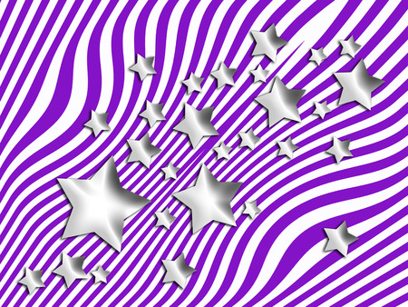 silver stars: Silver stars on purple stripes background Stock Photo